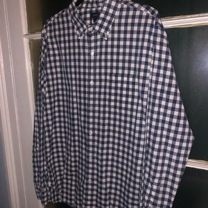 J. Crew Button Down Blue/White Plaid Shirt SZ LG